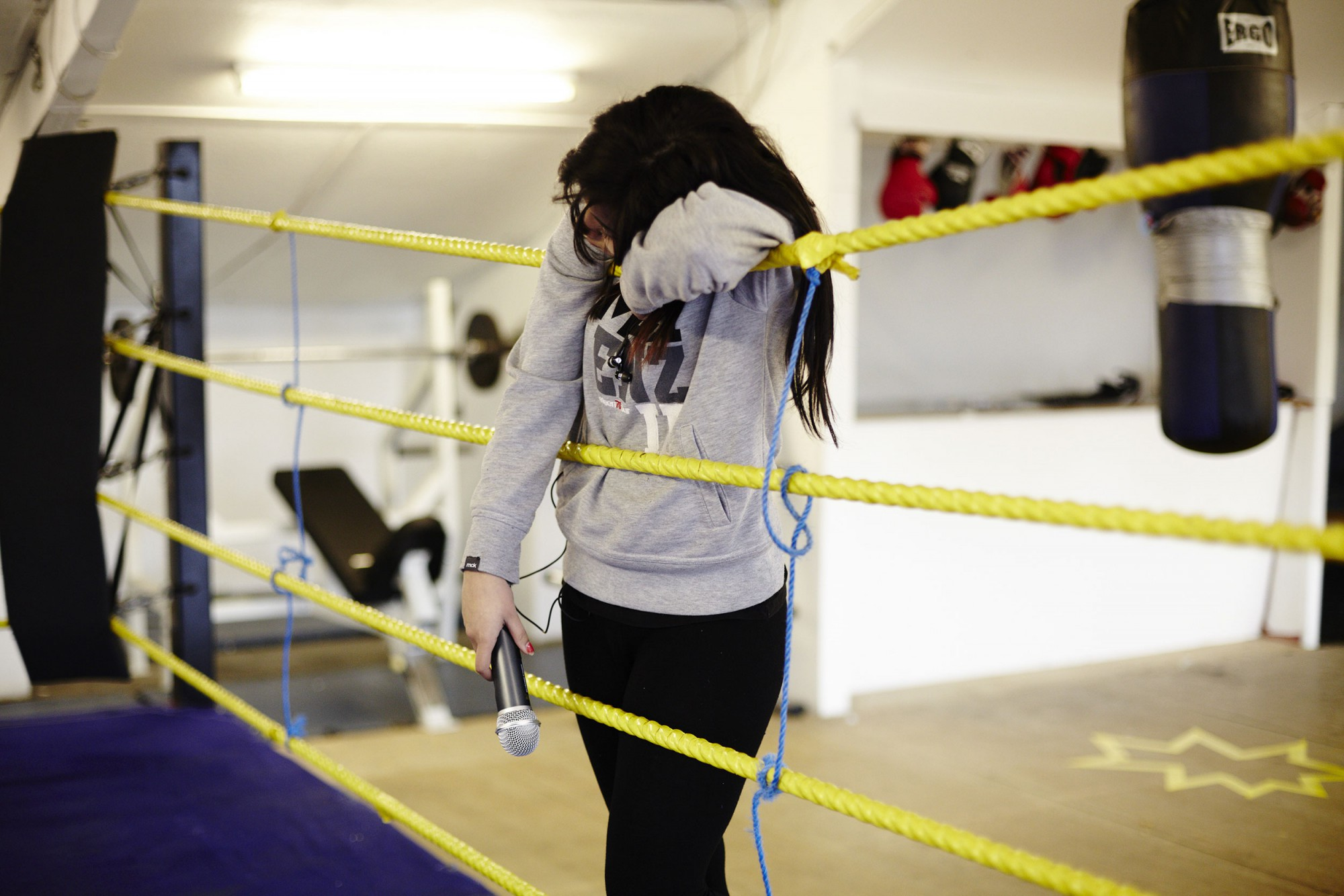 Picture of A boxing ring rehearsal of No Guts No Heart No Glory a political play about female Muslim boxers.