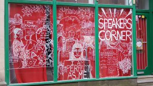 Speakers Corner window