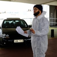 A picture of a Muslim cast member of Peacophobia practicing his lines.