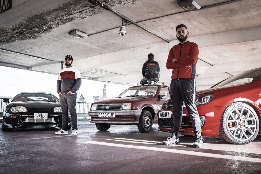 Photo of the main cast of Peacophobia, an immersive theatre piece about Islamophobia and modified cars.
