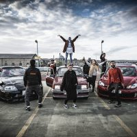 Photo of the cast of Peacophobia a political play about Islamophobia, at it's site-specific car park in Bradford.