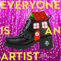 A black boot, drawn over and made into a house. The words