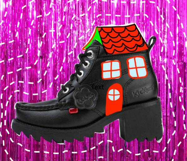 A black boot with a hand drawn roof and windows.